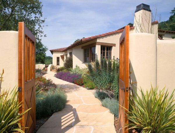 stucco house flagstone walkway