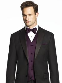 Black suit with vest and bow tie. Color: Aubergine