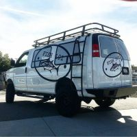 Chevy van with Aluminess bumpers, ladder and roof rack ...