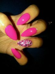 hot pink stiletto nails with