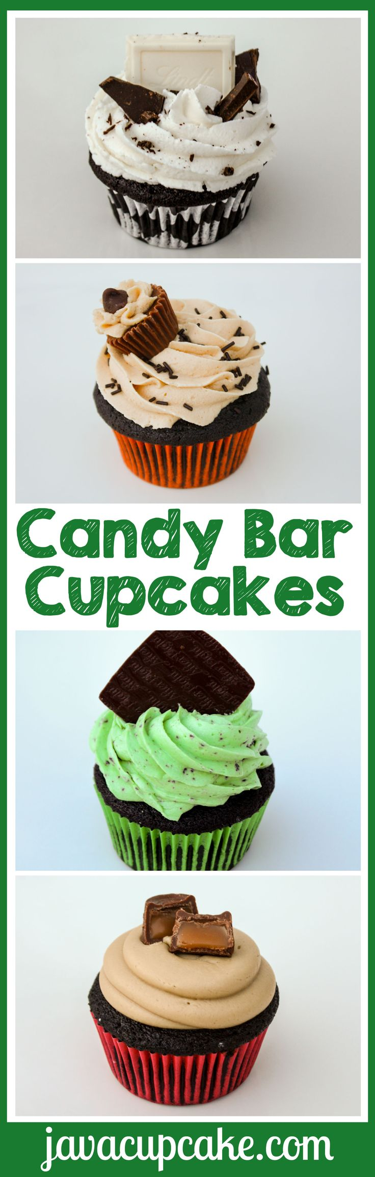 Rich dark chocolate cupcakes made into four very different, extremely delectable, incredibly delicious candy bar-inspired