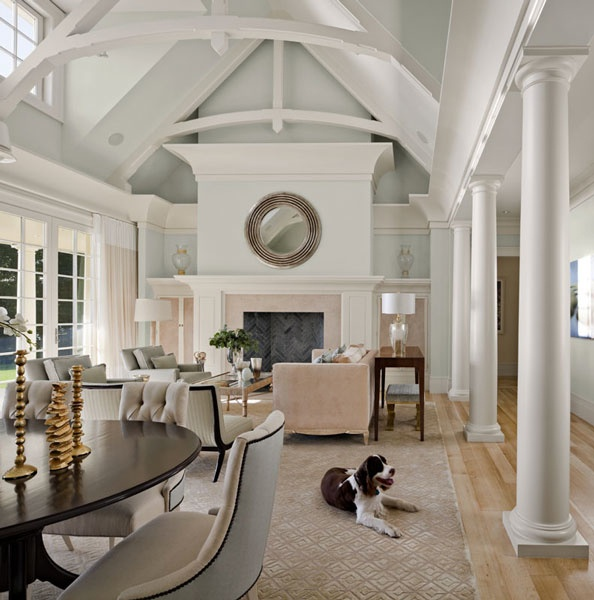 Round Mirror Over Fireplace Grand Fireplace W/ Vaulted Ceilings & Beams....open Floor