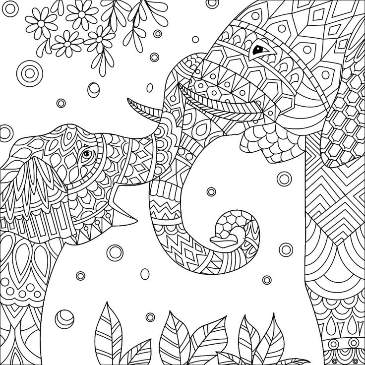 143 best images about Elephant Coloring Pages for Adults