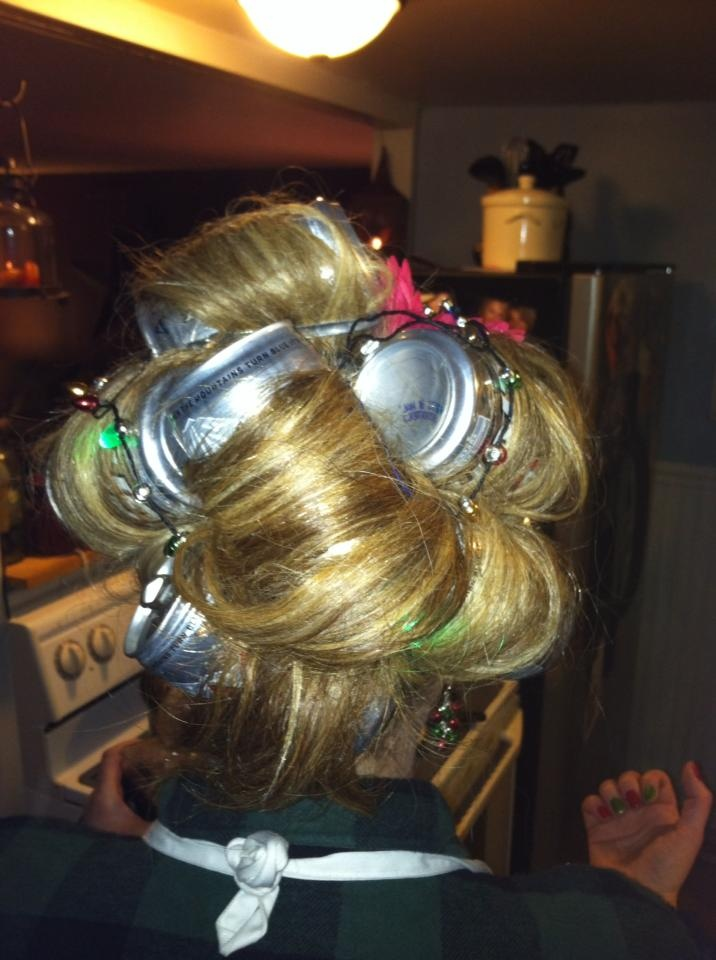 Beer can curlers key is to use the mini beer cans and