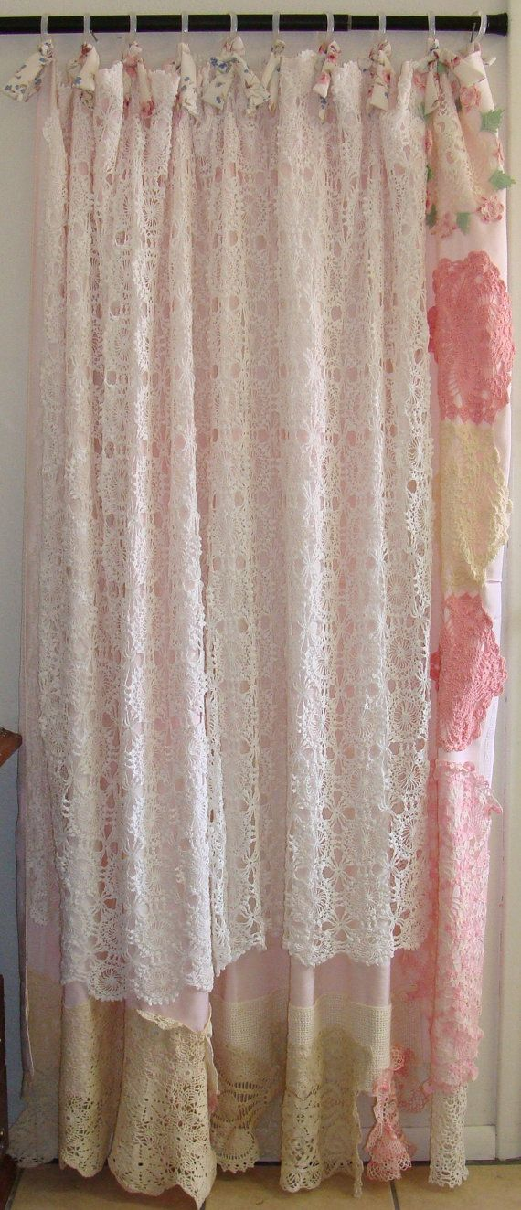 Shabby Chic Shower Curtain Vintage Crochet Linen Bows Vintage Chic And Shabby
