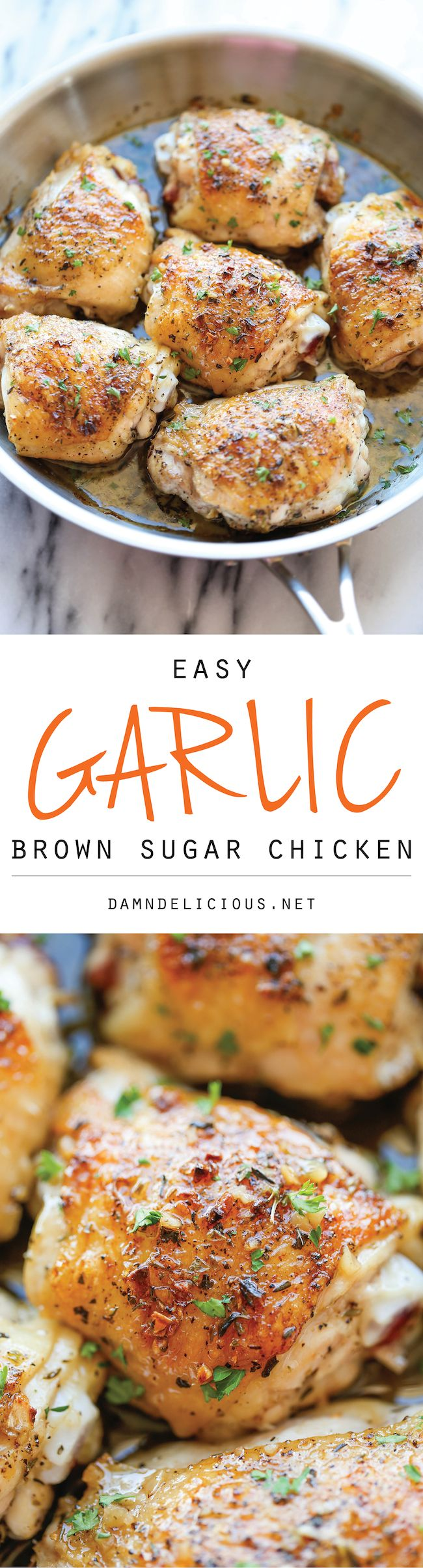 Garlic Brown Sugar Chicken – The best and easiest chicken ever, baked to crisp-tender perfection along with the most amazing sweet
