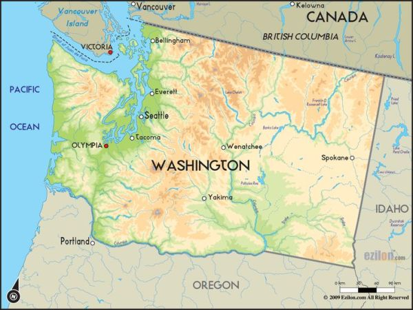 washington state Map of Washington and Washington