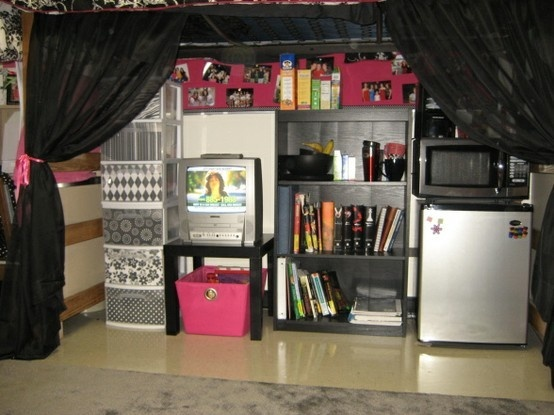 Great Way For Lofted Beds To Hide Away Appliances.