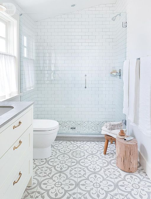 not so plain white bathroom with great walk-in shower, grey & white floor tiles and grey countertop add interest to basic white room, change gold handles to match shower fixtures, add bench in shower, spray nozzle, Vancouver, BC: