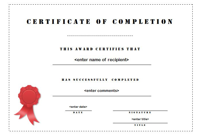 25+ best ideas about Certificate of completion template on