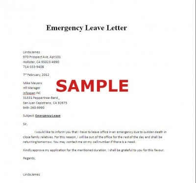 Emergency Leave Letter Father Is Sick
