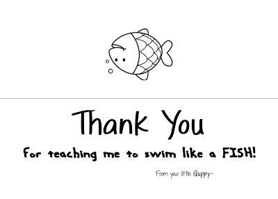Swim Coach: Swim Coach Thank You Card