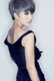 edgy. asian girl with grey hair