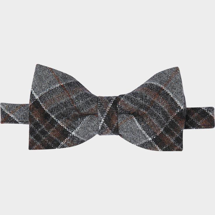 Egara Brown and Gray Plaid Bow Tie