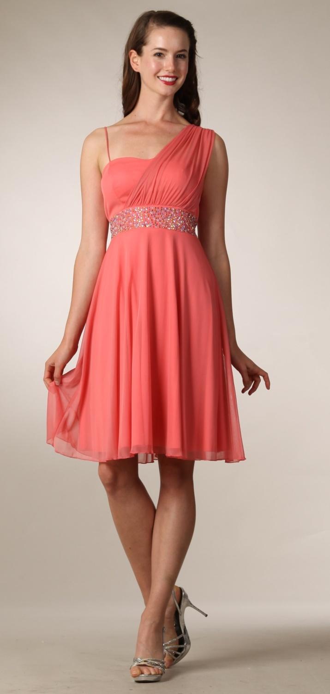 Coral Graduation Dress Short Knee Length Greek Style