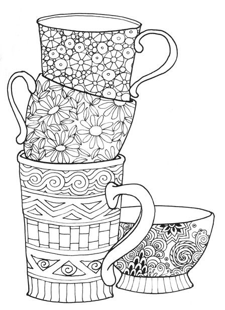 426 best coffee  tea coloring pages for adults images on