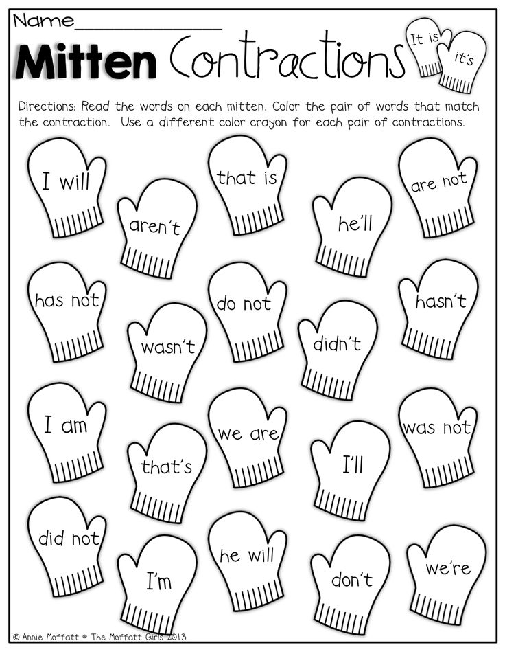 Mitten Contractions! Color the mittens that match the