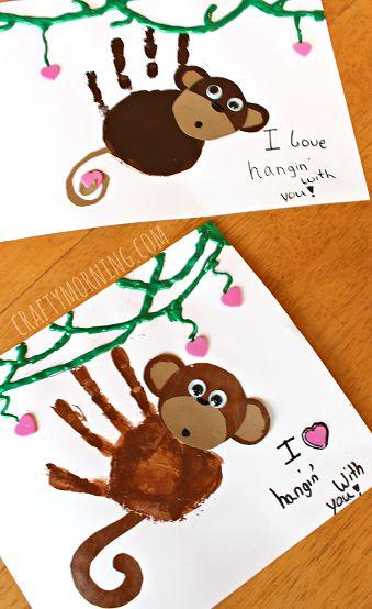 Super cute monkey hand art preschool craft – perfect for valentines day