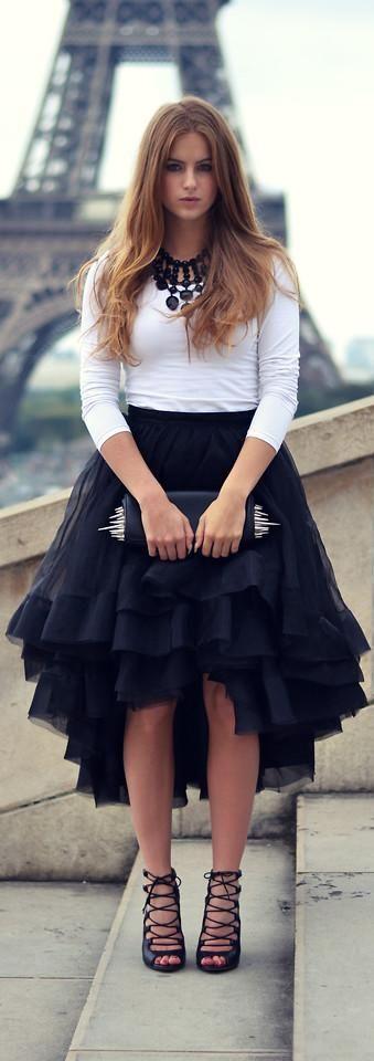 Women's fashion | White 3/4 sleeve top, black ruffled skirt , heels, clutch & statement necklace: