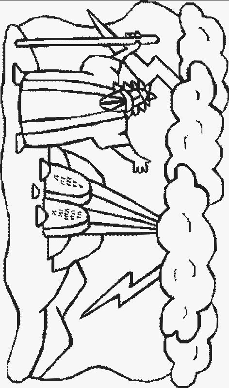 Moses Makes A Great Bronze Snake On Staff Coloring Page