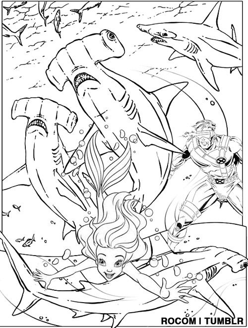 """Cyclops Saves Ariel from Killer Hammerhead Sharks"