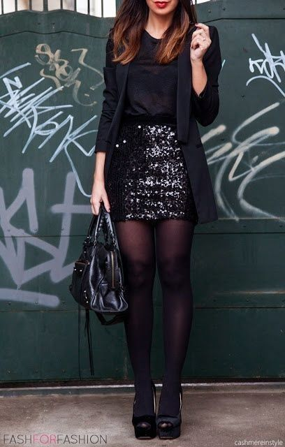 Looks like this will inspire my go-to Christmas party outfit this year, but will be swapping the black sequins for champagne