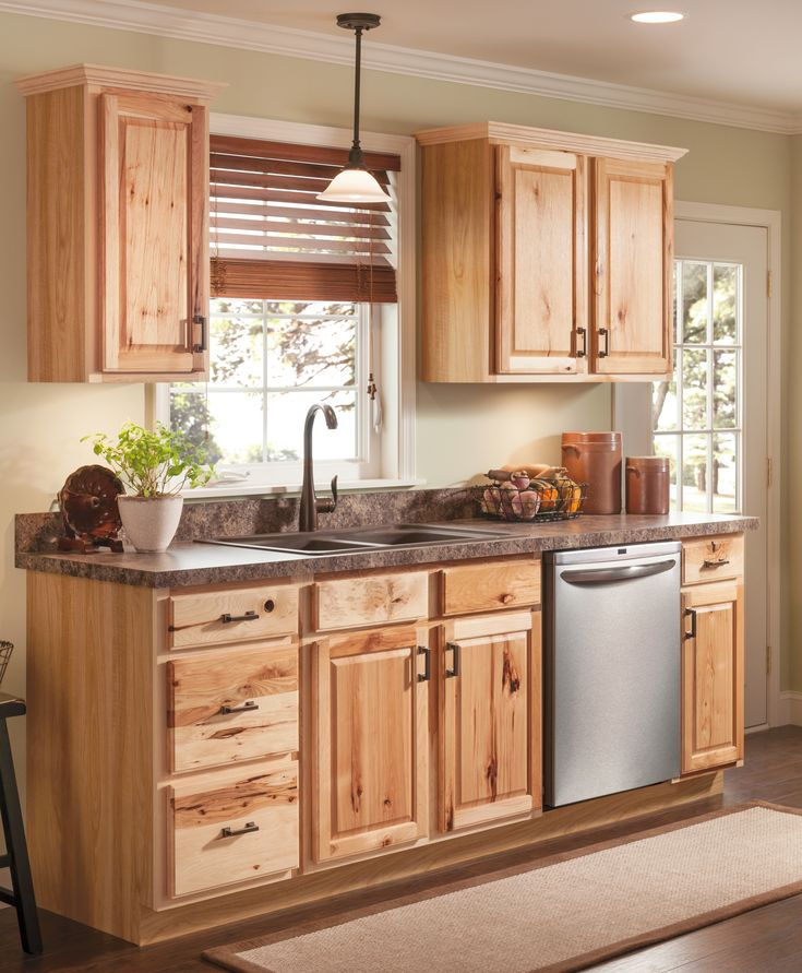 Beautiful Hickory cabinets for a natural looking kitchen