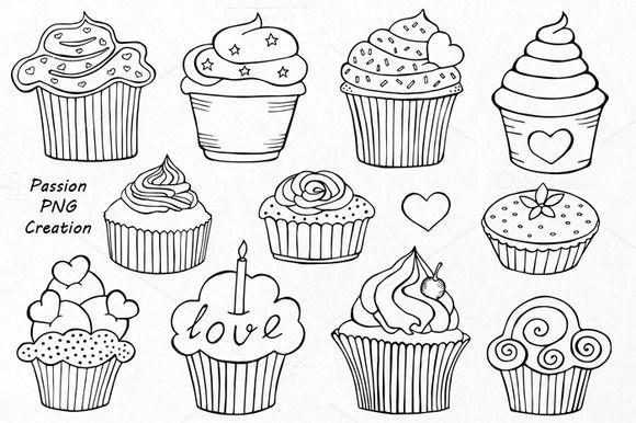 doodle cupcakes clip art doodles
