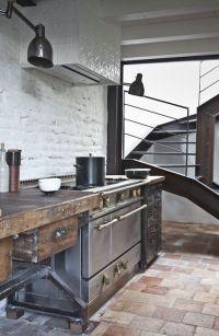 Rustic modern kitchen -- whitewashed brick, terracotta ...