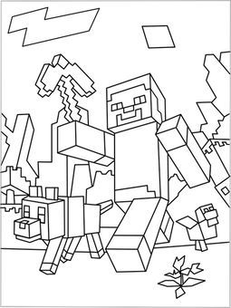 Free coloringpages with Minecraft Finally something for