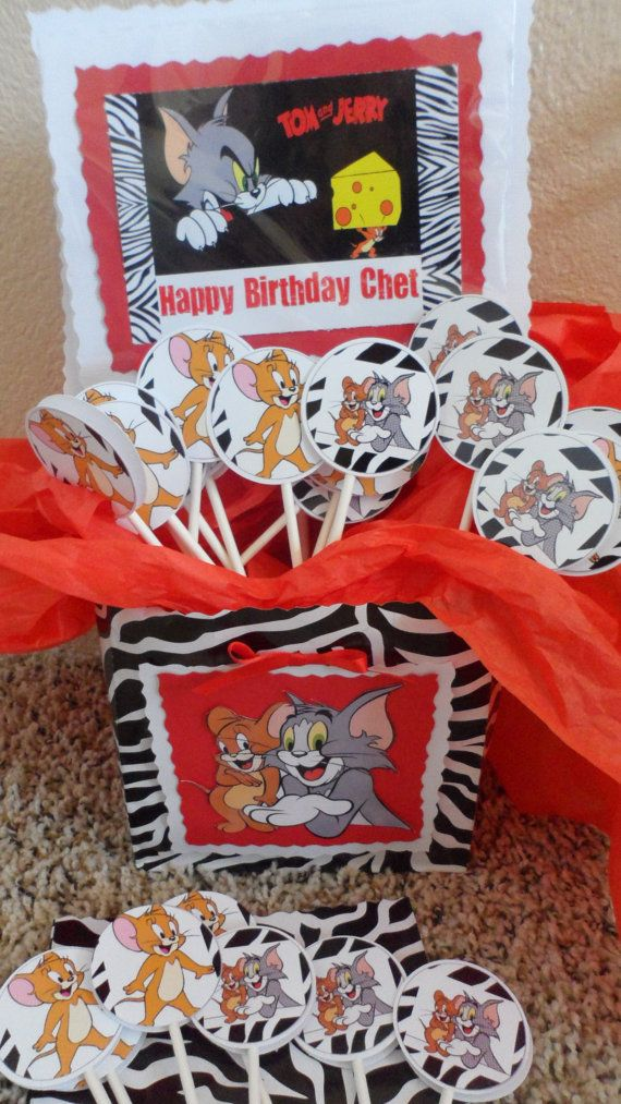 Tom and Jerry Cupcake Toppers  Tom and Jerry Birthday Party  Pinterest  Toms Cupcake toppers