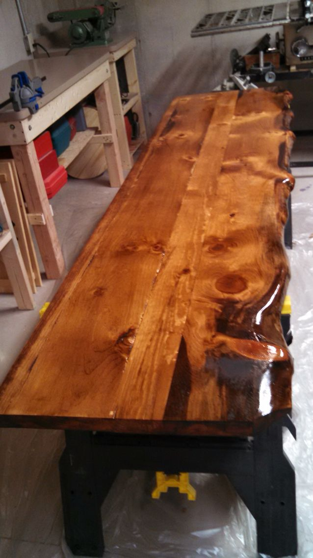 kitchen tops wood franke faucets live edge pine countertops with minwax honey stain   log ...
