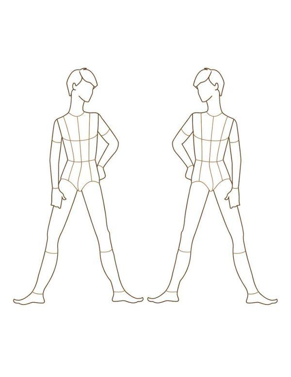 Croqui Fashion Model Templates  male fashion figure