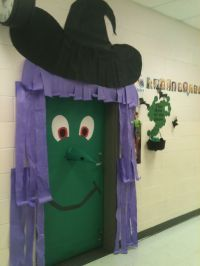 Classroom door decoration for Halloween (a green witch ...