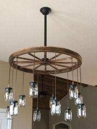 Wagon wheel chandelier, mason jars | New house ...