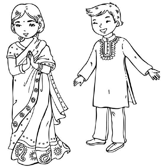 Children of India free coloring page. This and more found