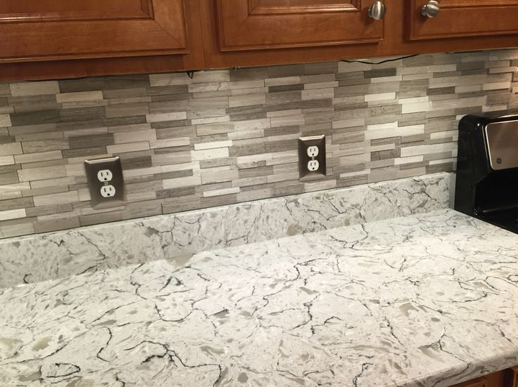 kitchen backsplash tile ideas runner rug gray subway mosaic wall tiles on spring valley quartz ...