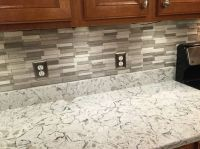 Gray Subway Mosaic Wall Tiles on Spring Valley Quartz ...