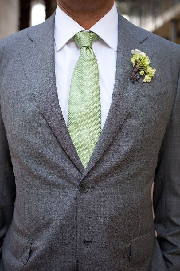 Grey suit with sage tie  Mens Fashion  Pinterest  Green Mint green and Groomsmen