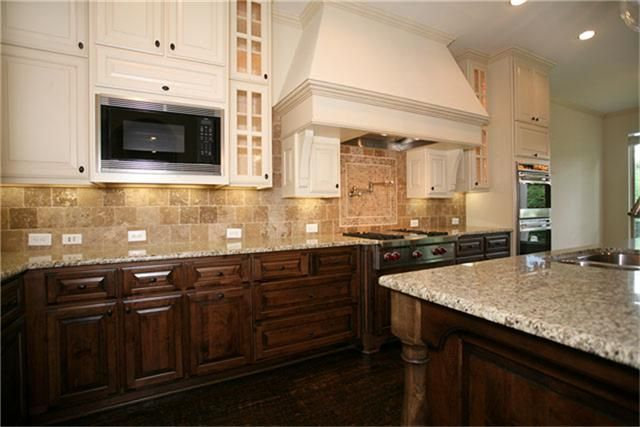 painted upper stained lower cabinets  Kitchen  Pinterest  Base cabinets Warm and Nice