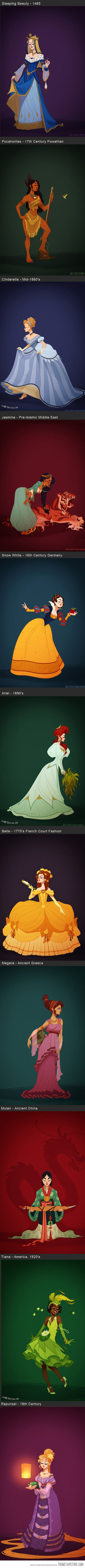 Disney Princesses in accurate period costume