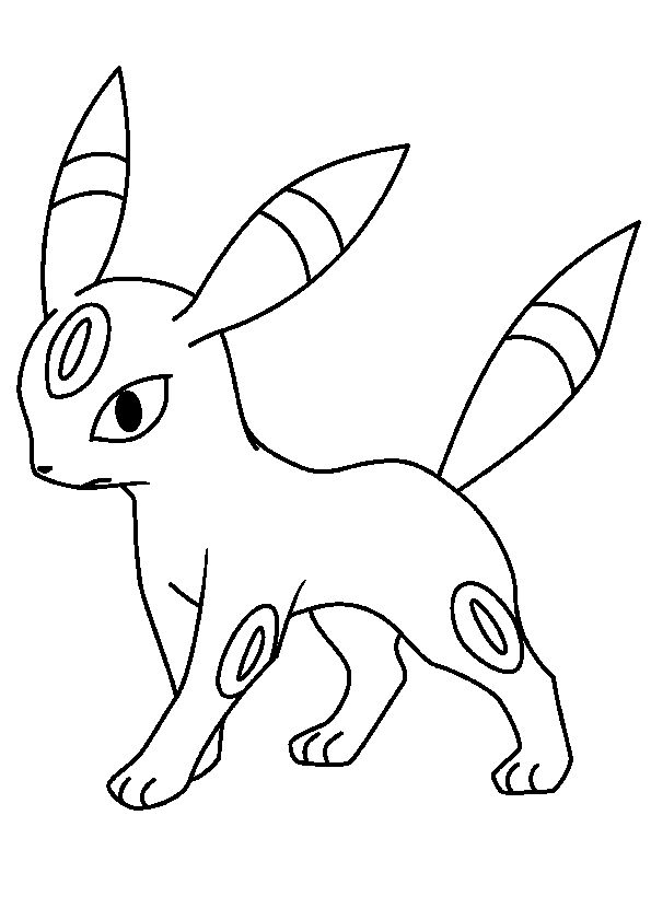 Coloriage du Pokémon Noctali, l'évolution d'Evoli