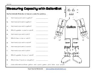 W13, GallonBot Capacity Worksheets (Gallons, Quarts, Pints