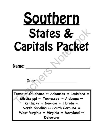 Southern States and Capitals Review Packet from Dr Noahs