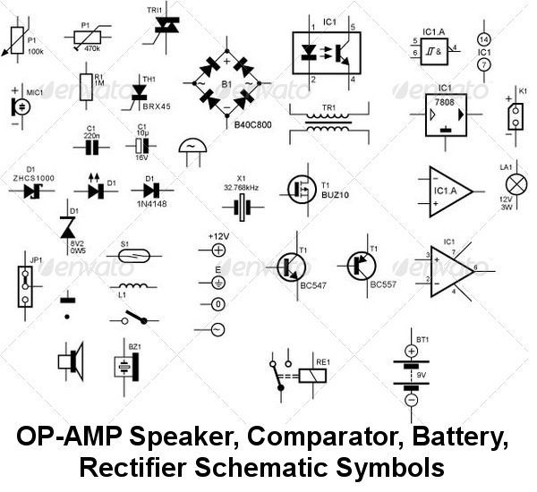 Operational Amplifier, Speaker, Audio, Bridge Rectifier,Analogue Comparotor, Coils Schematic