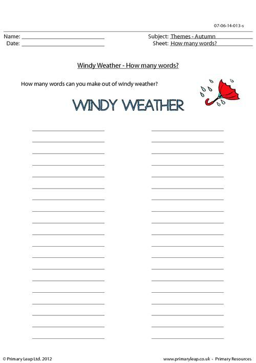 PrimaryLeapcouk  Autumn word unscramble  Windy weather