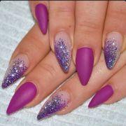 matte purple almond acrylic nails