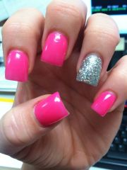 hot pink sparkle acrylic nails