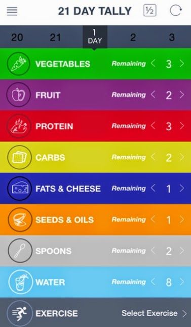Keep things simple with the 21 Day Fix Tally app to track how many containers youve gone through.  Or check out the color coded meal plan I put together by visiting my