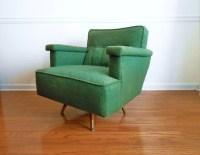 Mid Century Upholstered Swivel Rocker. Green Original ...